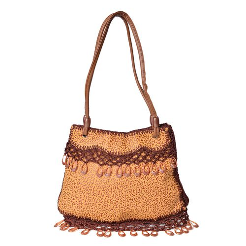 Crochet Lace and Dangling Charms Embellished Chocolate and Yellow Colour Scroll Vine Pattern Tote Bag (Size 32X23 Cm)