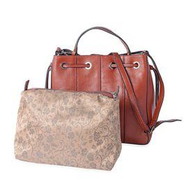 Luxury Set - 100% Genuine Leather Brown Colour Satchel Bag with Detachable Shoulder Strap (Size 29x2