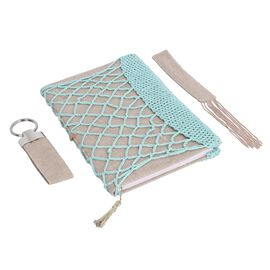 Jacquard Knitted Fabric Crochet Cover Diary (21x15cm) with Matching Keychain and Bookmark - Sky Blue