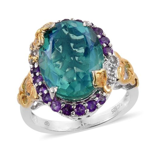 GP 10.25 Ct Quartz and Multi Gemstone Halo Ring in Platinum and Gold Plated Silver 5.52 Grams