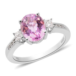 Close Out Deal - Iliana AAA Kunzite (3.15 Ct) and Diamond (SI / G-H) 18K W Gold Ring  3.500  Ct.