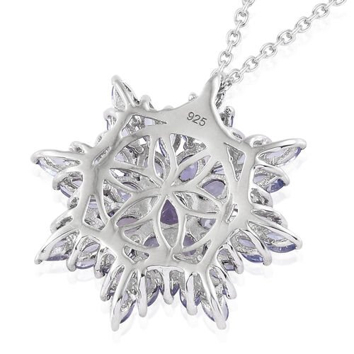 Tanzanite (Rnd) Snowflake Pendant With Chain (Size 18) in Platinum Overlay Sterling Silver 4.080 Ct, Silver wt 5.1 Gms.