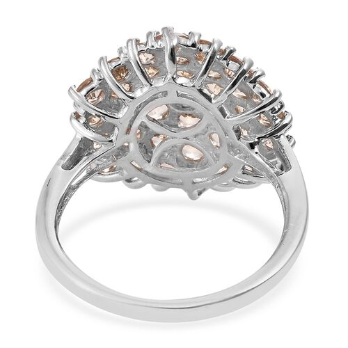 Cocktail Collection- Imperial Topaz (Rnd) Cluster Ring in Platinum Overlay Sterling Silver 5.250 Ct.