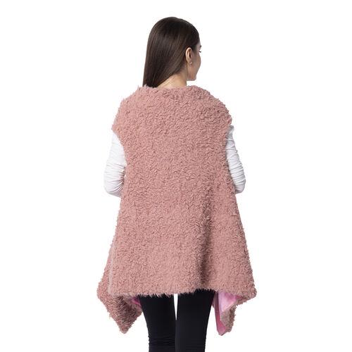 Designer Inspired-Dusky Rose Colour Faux Fur Gilet (Size 155x75 Cm)