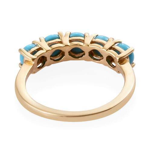 Arizona Sleeping Beauty Turquoise (Rnd) Five Stone Ring in 14K Gold Overlay Sterling Silver 1.250 Ct.