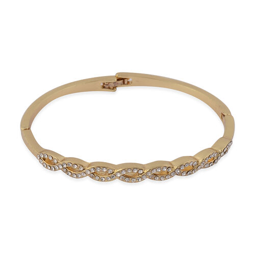 THOMAS CALVI Cubic Zirconia Studded Infinity Bracelet (Size 7.5 Inch) in Yellow Gold Tone
