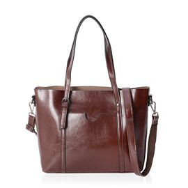 Close Out Deal100% Genuine Leather Coffee Colour Tote Bag with Removable Shoulder Strap (Size 37x30x26x13 Cm)