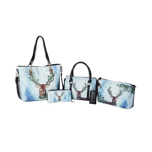Set of 5 - Deer Pattern Tote Bag (29x12.5x30cm), Convertible Bag (27.5x13x19cm), Crossbody Bag (12.5