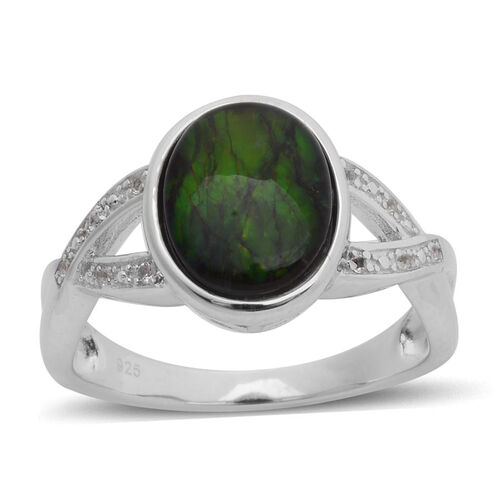Canadian Ammolite (Ovl 2.00 Ct), White Topaz Ring in Rhodium Plated Sterling Silver 2.150 Ct.