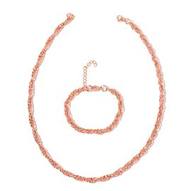 Prince of Wales Necklace (Size 20) and Bracelet (Size 7.5 with 1 inch Extender) with Lobster Lock in Rose Gold Overlay Stainless Steel