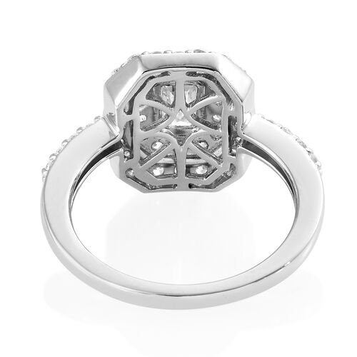 J Francis - 9K White Gold (Oct and Rnd) Ring Made With SWAROVSKI ZIRCONIA