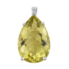 Hongkong Close Out Deal- Natural Green Gold Quartz (Pear 30x20 mm) Pendant in Platinum Overlay Sterl