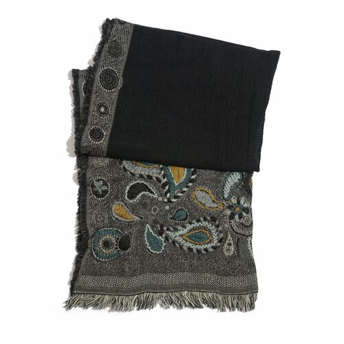 Designer Inspired 100% Wool Multi Colour Paisley and Floral Embroidered Black Colour Scarf with Fringes (Size 180x70 Cm)