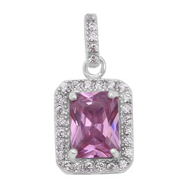 ELANZA Simulated Pink Sapphire and Simulated Diamond Halo Pendant in Rhodium Plated Sterling Silver