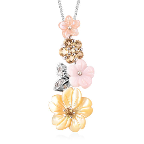 Jardin Collection - Yellow Mother of Pearl, Citrine, Simulated Diamond and Multi Gemstone Floral Pen