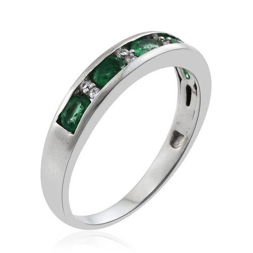 Limited Edition- Premium Santa Terezinha Emerald (Ovl), Natural Cambodian Zircon Half Eternity Ring in Platinum Overlay Sterling Silver 1.000 Ct.
