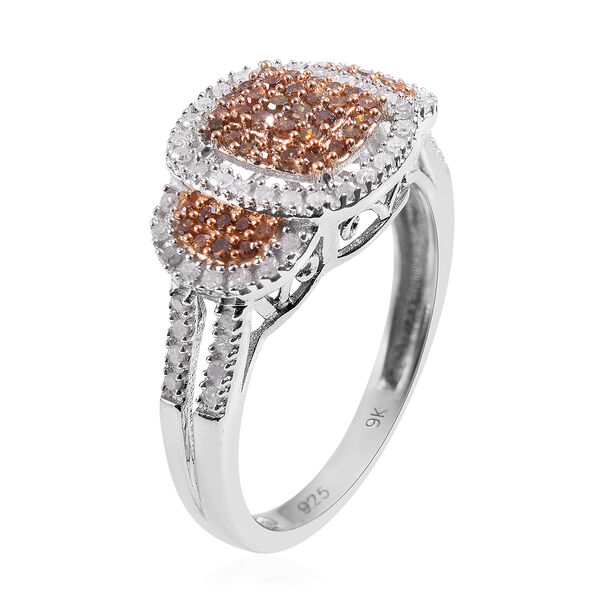 One Time Deal- Red Diamond and Natural White Diamond Cluster Ring in Platinum and Yellow Overlay Sterling Silver 0.50 Ct.