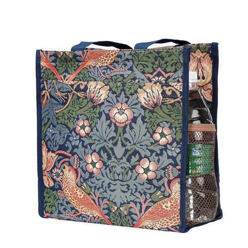 Signare Tapestry - 2 Piece Set - Strawberry Theif Shopping Bag (17X6X22cm) and Umbrella in Teal blue and Multi Colour