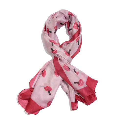 100% Mulberry Silk Red and Black Colour Lips Pattern Light Maroon Colour Scarf (Size 180x100 Cm)