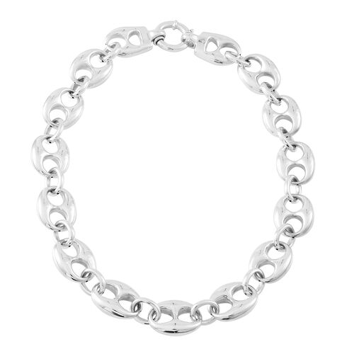Vicenza Collection- Designer Inspired Sterling Silver Anchor Link Necklace (Size 21), Silver wt. 50.80 Gms.