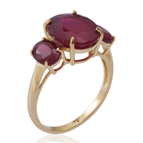 Limited Edition- 9K Yellow Gold AA African Ruby (Rare Size Ovl 12x10 mm 6.80 Ct) 3 Stone Ring 9.000 Ct.