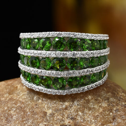 Russian Diopside (Rnd), Natural Cambodian Zircon Ring in Platinum Overlay Sterling Silver 5.000 Ct, Silver wt 7.84 Gms. Number Of Gemstone 167