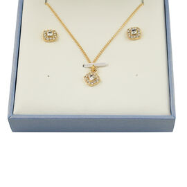 2 Piece Set - ETERNITY Crystal from Swarovski Square Shape Necklace (Size 18 with 2 inch Extnder) an