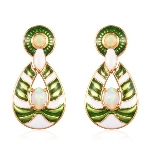 AA Ethiopian Welo Opal Enamelled Earrings (with Push Back) in 14K Gold Overlay Sterling Silver 1.50