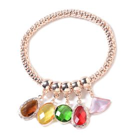 Simulated Multi Colour Gemstone Stretchable Bracelet (Size 6.5 - 8.5 Inches) in Rose Gold Tone