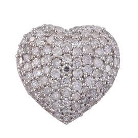 1.01 Ct Diamond Heart Cluster Pendant in 9K Gold 2 Grams