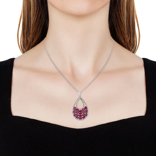 Designer Inspired-African Ruby (Ovl 11.30 Ct), Natural White Cambodian Zircon Drop Pendant with Chain in Rhodium Plated Sterling Silver 11.600 Ct.