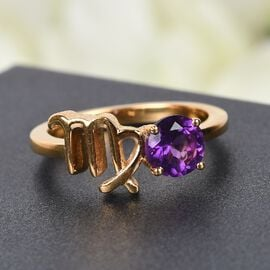 AA Amethyst Zodiac-Virgo Ring in 14K Gold Overlay Sterling Silver Ring 0.50 Ct.