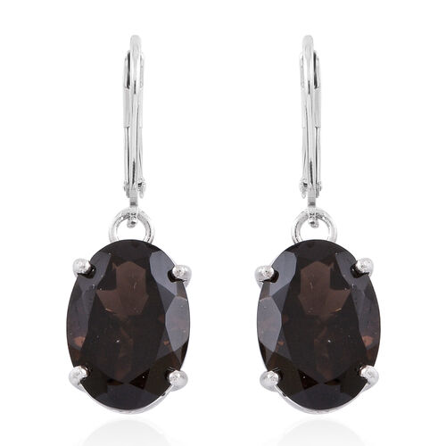 Brazilian Smoky Quartz (Ovl) Lever Back Earrings in Rhodium Plated Sterling Silver 10.000 Ct.
