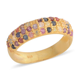 Mega Auction of the Day- Rainbow Sapphire (Rnd) Ring in Gold Vermeil Sterling Silver 1.000 Ct.