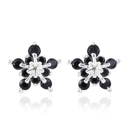 Boi Ploi Black Spinel (Rnd) Snowflake Earrings in Sterling Silver 0.750 Ct.