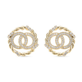Simulated Diamond Stud Earrings (with Push Back) in Gold Tone