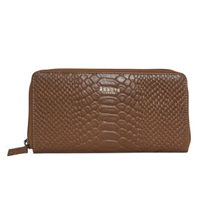 Assots London HAZEL Python Embossed Genuine Leather Zip Around Purse (Size 20x2x10 Cm) - Tan (Navigation Fashion Accessories Handbags) photo