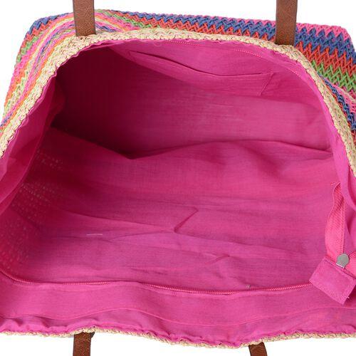 St. Tropez Collection- Fuchsia and Rainbow Colour Stripe Pattern Straw Tote Beach Bag (Size 47x37x34x15.5 Cm)