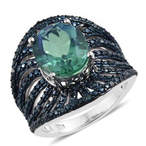 Peacock Quartz (Ovl 4.75 Ct), Blue Diamond (0.25 Ct.)Ring in Platinum Overlay Sterling Silver 5.000
