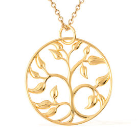Tree of Life Pendant with Chain in Gold Plated Sterling Silver 18 Inch