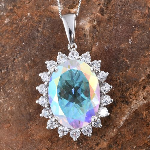 Limited Edition - Rare Size Mercury Mystic Topaz (Ovl 8.20 Ct), Natural Cambodian Zircon Pendant with Chain in Platinum Overlay Sterling Silver 10.000 Ct.