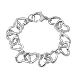 Heart Link Bracelet in Rhodium Plated Silver 18.25 Grams 7.5 Inch