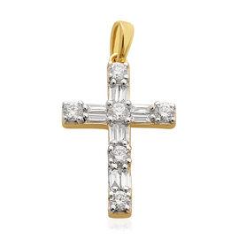 ILIANA 18K Yellow Gold IGI Certified Diamond (Rnd and Bgt) (SI /G-H) Latin Cross Pendant 0.500 Ct.