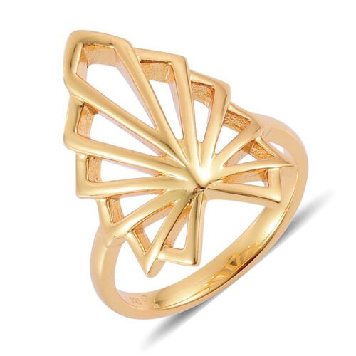 LucyQ Art Deco Ring in Yellow Gold Overlay Sterling Silver 5.25 Gms.