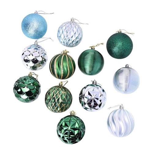 12 Pieces of Tree Decoration Balls in Gift Box - Blue