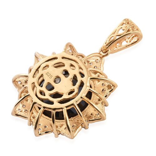 Boi Ploi Black Spinel (Rnd 12.95 Ct), White Topaz Pendant in 14K Gold Overlay Sterling Silver 13.500 Ct.