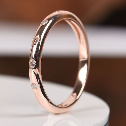 Diamond Stacker Band Ring in Rose Overlay Sterling Silver 0.05 Ct.