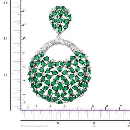 Red Carpet Collection- ELANZA Simulated Emerald (Ovl), Simulated White Diamond Floral Earrings in Rhodium Plated Sterling Silver