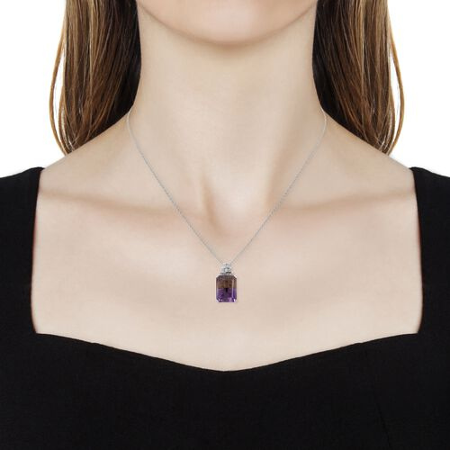 Natural Anahi Ametrine (Oct 13.00 Ct),Natural White Cambodian Zircon Pendant With Chain (Size 18) in Rhodium Overlay Sterling Silver 13.500 Ct.