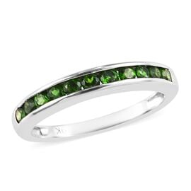 9K White Gold AA Russian Diopside (Rnd) Half Eternity Band Ring 0.65 Ct.